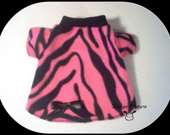 Pink and Black Zebra Fleece Dog Shirt Clothes Size XXXS through Medium