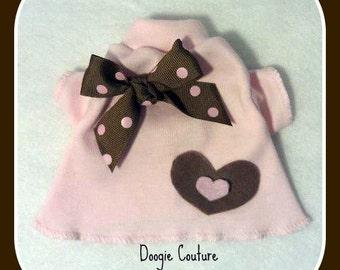 Pink and Brown Heart Dog Shirt Clothes Size XXXS through Medium