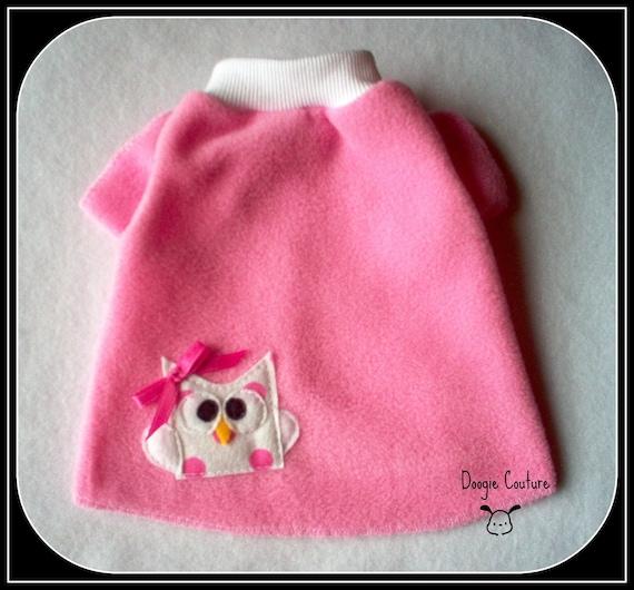 Baby Owl Fleece Dog Shirt Clothes Size XXXS through Medium by Doogie Couture