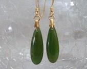 Green Jade Teardrop Earrings E199