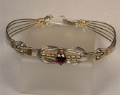 January Handmade Sterling Silver and 14K Gold-Filled Birthstone Bracelet. Great Gift Idea.