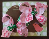I love Soccer Pig Tail Set of Two Small Boutique Folded Hair Bows Clip Set