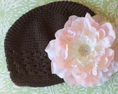 Beautiful Soft Pink Flower with Detachable Clip that is on a Brown Crochet Beanie