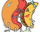 Hot Dog and Taco 3 inch vinyl sticker