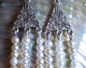 Silver triangle and white pearl drop earrings