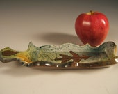 Butter Dish or Spoon Rest in Red Stoneware w leaf impressions