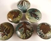 6 ceramic cabinet knobs drawer pulls cabinet hardware in green leaf glaze