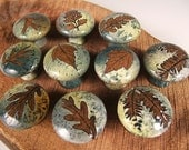 10 cabinet knobs drawer pulls Drawer Knobs Pull Handles Ceramic Knob Handmade Knobs/ Green Lime Spring Summer Cabin Rustic