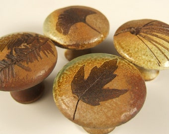 4  Leaf ceramic Cabinet Knobs or Drawer Pulls in Change of Seasons glaze