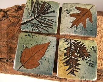 "Backsplash Accent Ceramic Tile kitchen bath Rustic Cabin bungalow tree leaves 1.75"""