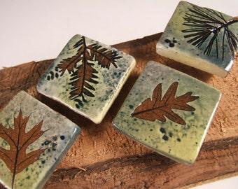4 qty green leaf glaze ceramic magnets