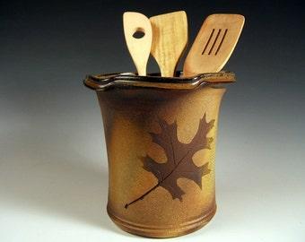 Stoneware Spoon Jar,Wine Holder or Vase  in Oak Leaves  , 64 ounce