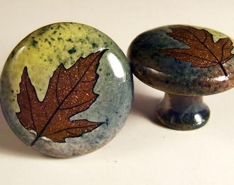 cabinet knob/drawer pull rustic woodland green leaf glaze wheel thrown ceramic knobs