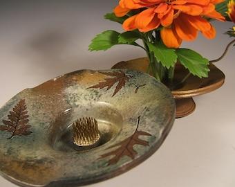 Ikebana Vase in Green Leaf Glaze with Oak Fern & Maple