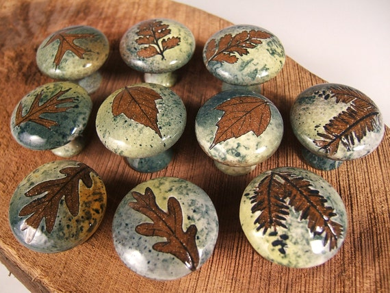 10  ceramic cabinet knobs drawer pulls tree leaves, unique, in green leaf glaze