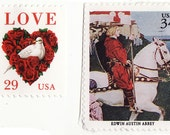 63 - Knight in Shining Armor (Calligraphed valentine with vintage postage)