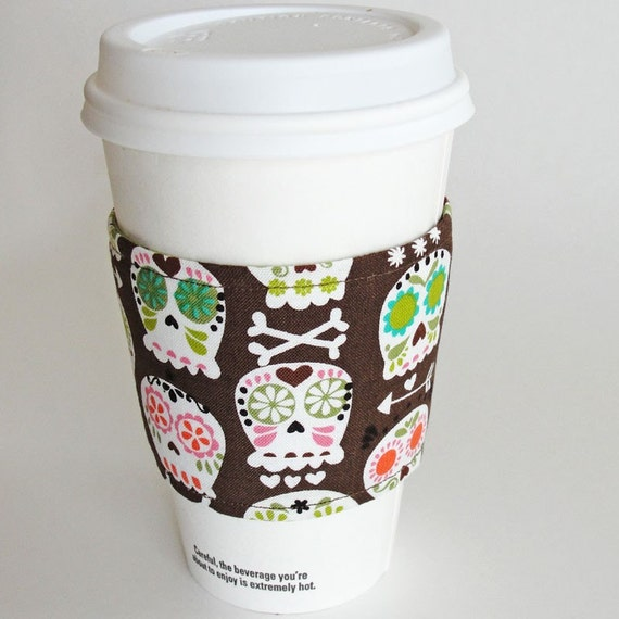 Colorful Skulls Reusable Coffee Sleeve