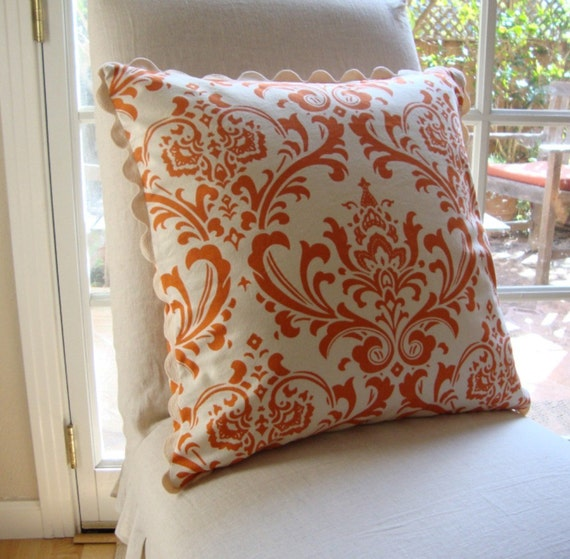 SALE - Orange & Cream Damask and Dot 20x20 inch (51 cm) Pillow Cover