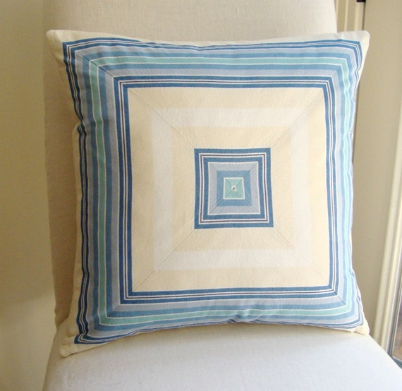 PRICE REDUCTION Mitered Stripe Pillow Cover in Blue, Turquoise, Ivory 20x20 inch (51 cm)