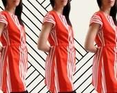clara dress vintage red orange stripe