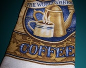 Coffee Crocheted Top Hanging Kitchen Towel