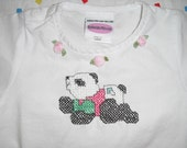 Counted Cross Stictch Baby Romper (Baby Panda design)