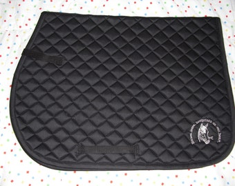 English All Purpose Saddle Pad-Embroidered Design of Horse Head/Horses leave Hoofprints on our heart.