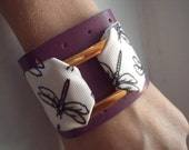 Lavender Genuine Leather Dragonfly Cuff