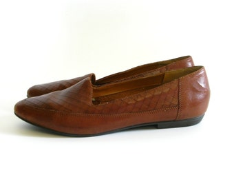 Vintage Candies Brown Leather Flats - Size 8