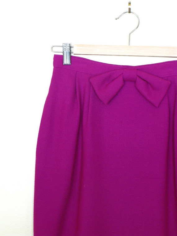 Vintage Magenta Pink Wool Mini Skirt with Bow