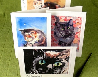 Cat Cards Paper Goods Handmade animal Cards Art Painting Any 4 Note Cards Men Women 10% off Black Friday Cyber Monday WatercolorByMuren
