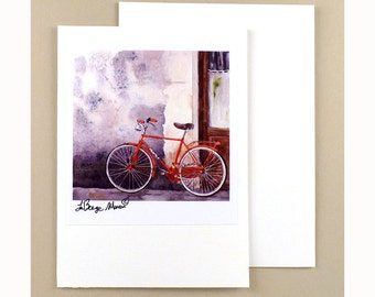 Bike Note Cards Bicycle Paper Goods Cycling Ephemera Fine Art Watercolor Painting Bicycle blank card blank Bike note card Florence Italy