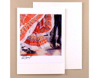 Dance Note Cards Dancing Paper Goods Mexican Dancer Ephemera Fine Art Watercolor Painting Dancing Art Costume Art Mexico