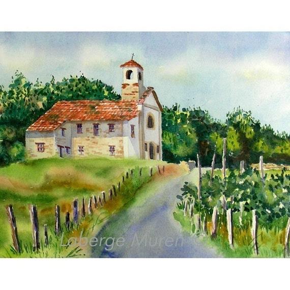 1. Italian church landscape / Watercolor print healing Art / Country walk Italy / Serentiy romantic Art / Mediterranean vineyard L
