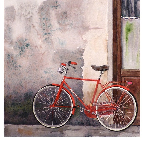Bicycle art watercolor print for Bicycle painting near me