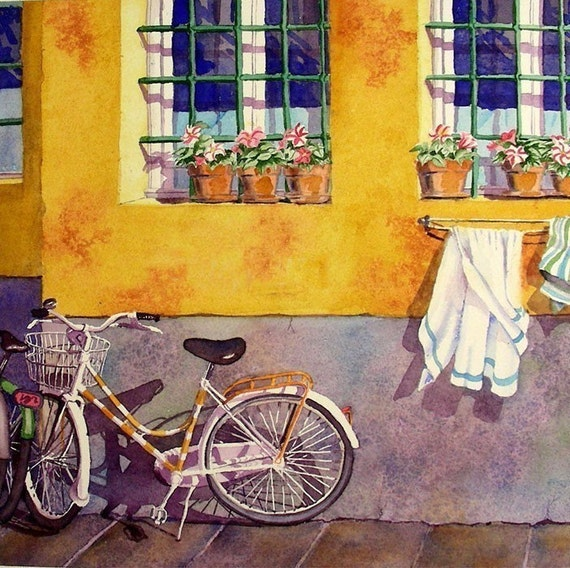 Bicycle Art Italy Travel Watercolour FP