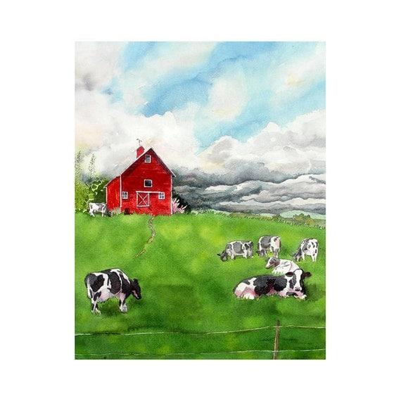 Barn Landscape Original Art Watercolor Painting Home Decor Wall Decor Red Barn Cows Field Storm Green Men Women Wall Decor 15x19 Under 200