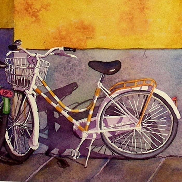 Bicycle paintings watercolor print florence italy travel for Bicycle painting near me