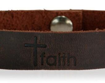 Handmade Leather Faith Bracelet