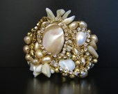 Abstract Cuff with Pearl Shell & Rhinestone - Handmade Fashion Forward Jewelry