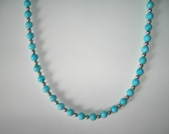 Turquoise beaded necklace and bracelet set