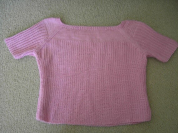 Ladie's hand knitted summer top in pink, size M