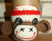 Sock Monkey Cup Sleeve, Cozy, Brown