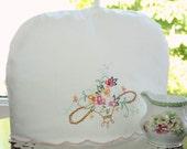 Tea Cozy, Vintage Linens,  Embroidered Flower Basket