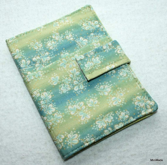 Passport Cover, Document Holder, Line Green and Blue