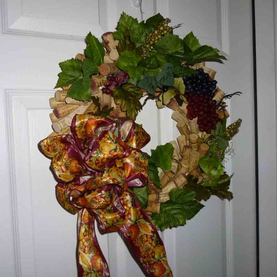 Grape  harvest wine cork wreath