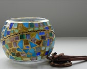 Deep water - mosaic bowl, candle holder, home decor, free shipping