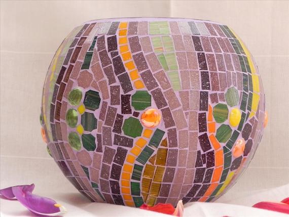 Perfect flowers - large glass mosaic bowl, candle holder, vase, unique home decor