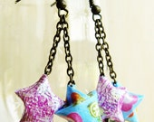 Japanese Origami Lucky Star Dangle Duo Earrings Purple and Blue Kawaii