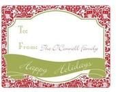 Holiday Gift Labels - Damask pattern